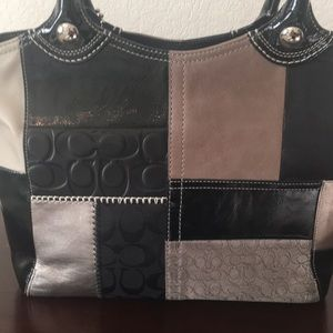 Coach Bags - Coach Patchwork Bleecker Tote Black and Silver